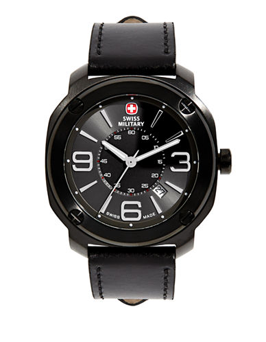 Swiss Military Escort Leather Watch-BLACK-One Size
