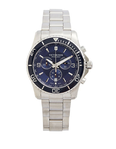 Victorinox Swiss Army Maverick Stainless Steel Chronograph Watch-BLUE-One Size