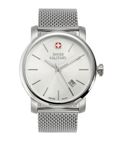 Swiss Military Chain-Link Vintage Watch-SILVER-One Size