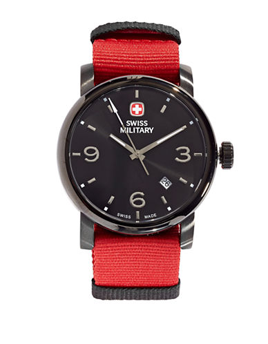 Swiss Military Grosgrain Large Numeral Watch-RED-One Size