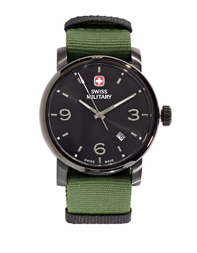Swiss Military Grosgrain Large Numeral Watch-GREEN-One Size