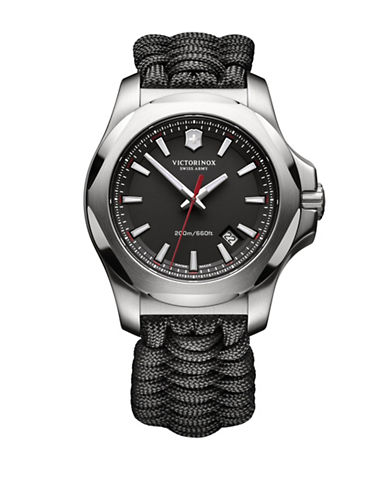 Victorinox Swiss Army I.N.O.X. Paracord Stainless Steel Strap Watch-BLACK-One Size