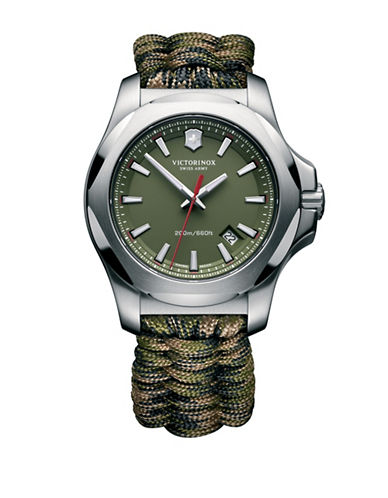 Victorinox Swiss Army I.N.O.X. Paracord Stainless Steel Strap Watch-GREEN-One Size