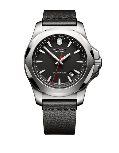 Victorinox Swiss Army I.N.O.X. Analog Leather Watch-BLACK-One Size