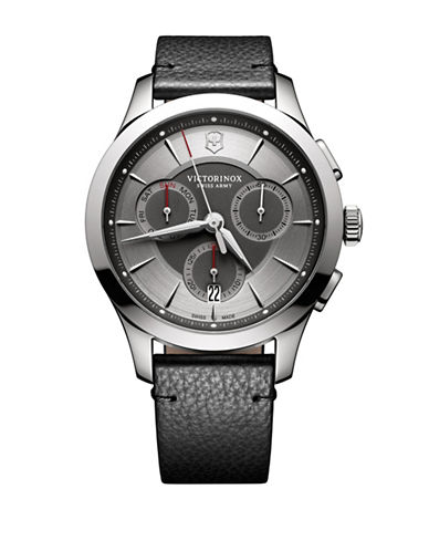 Victorinox Swiss Army Stainless Steel Leather Strap Chronograph Watch-GREY-One Size