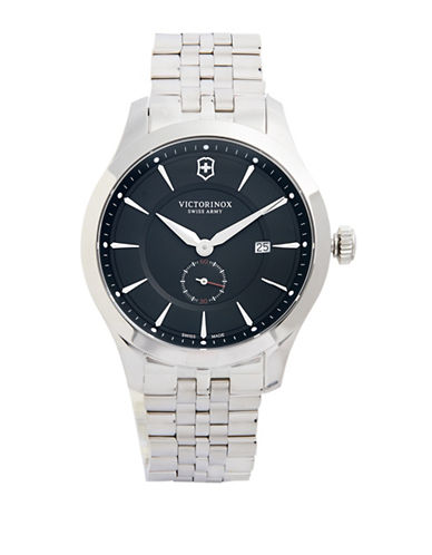 Victorinox Swiss Army Alliance Silvertone Stainless Steel Bracelet Watch-BLACK-One Size