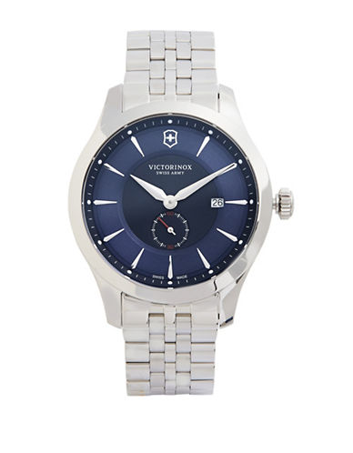 Victorinox Swiss Army Alliance Silvertone Stainless Steel Bracelet Watch-BLUE-One Size