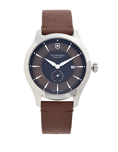 Victorinox Swiss Army Maverick Silvertone Stainless Steel and Leather Strap Watch-BROWN-One Size