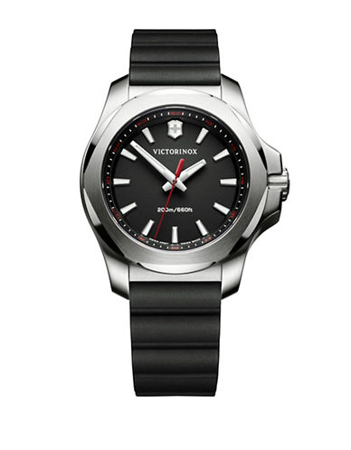 Victorinox Swiss Army Analog I.N.O.X. Stainless Steel Rubber Strap Watch-BLACK-One Size