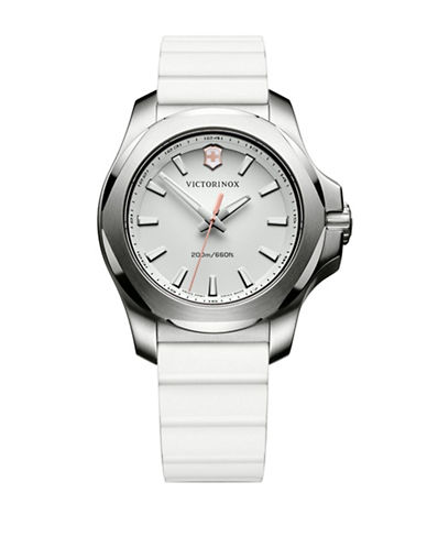 Victorinox Swiss Army Analog I.N.O.X. Stainless Steel Rubber Strap Watch-WHITE-One Size