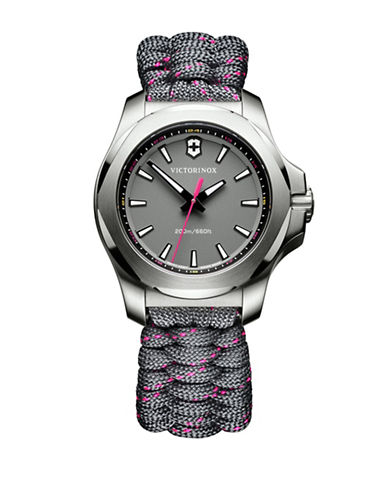 Victorinox Swiss Army Analog I.N.O.X. Stainless Steel Braided Strap Watch-PINK-One Size