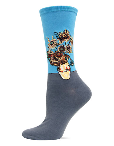Hot Sox Washed Blue Sunflowers Trouser Socks-WASHED BLUE-One Size