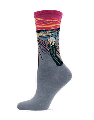 Hot Sox The Scream Crew Socks-RED-One Size
