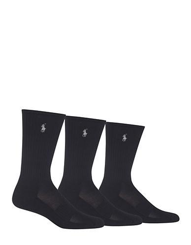 Polo Ralph Lauren Mens Three-Pack Athletic Crew Socks-BLACK-7-12