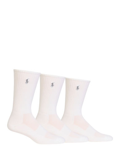 Polo Ralph Lauren Mens Three-Pack Athletic Crew Socks-WHITE-7-12