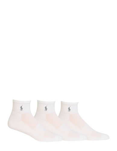 Polo Ralph Lauren Mens 3 Pack Embroidered Polo Player Athletic Socks-WHITE-7-12