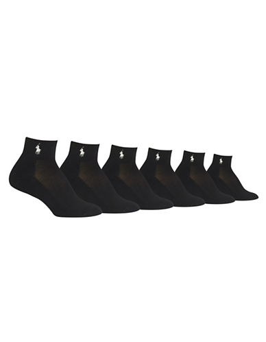 Ralph Lauren Six-Pack Cushion Sole Mesh Top Socks-BLACK ASSORTED-One Size