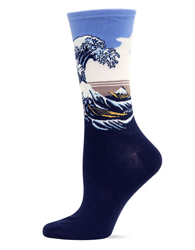 Hot Sox Boxed Great Wave Trouser Socks-PURPLE-One Size