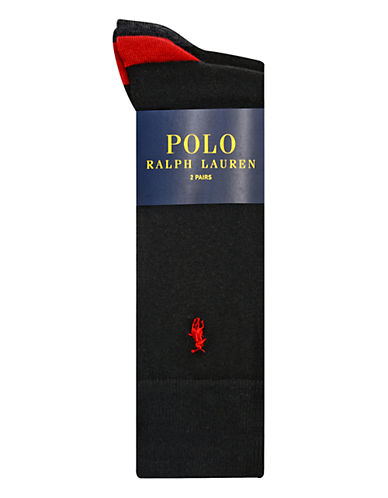Polo Ralph Lauren Mens Two-Pack Mid-Calf Socks-BLACK/RED-10