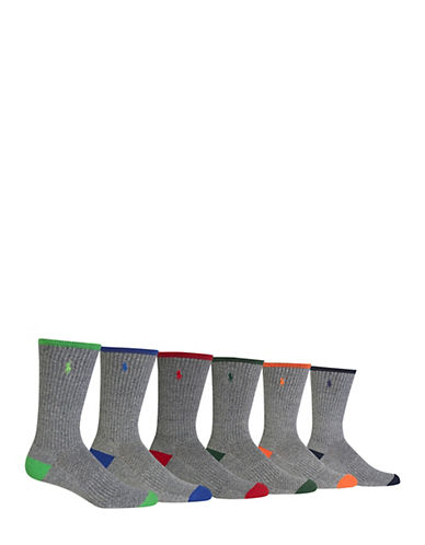 Polo Ralph Lauren Mens 6 Pack Tipped Sport Heel Toe Crew Socks-ASSORTED-7-12