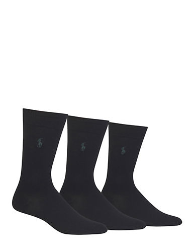 Polo Ralph Lauren Mens Big and Tall Three-Pack Dress Crew Socks-BLACK-12-15