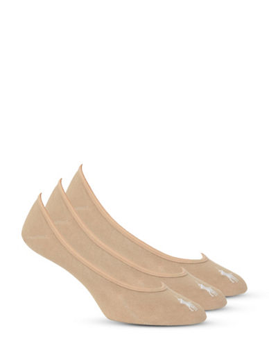 Ralph Lauren Three-Pair Ultra Low Athletic Liners-NUDE-One Size