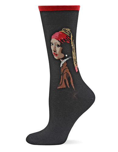 Hot Sox Red Girl with the Pearl Earring Trouser Socks-RED-One Size