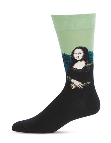 Hot Sox Mens Mona Lisa Socks-GREY-10
