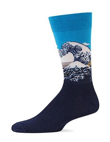 Hot Sox Great Wave Trouser Socks-BLUE-10-12