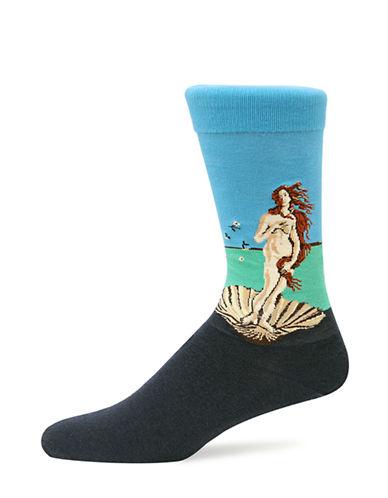 Hot Sox Mens Birth Of Venus Socks-BLACK-10