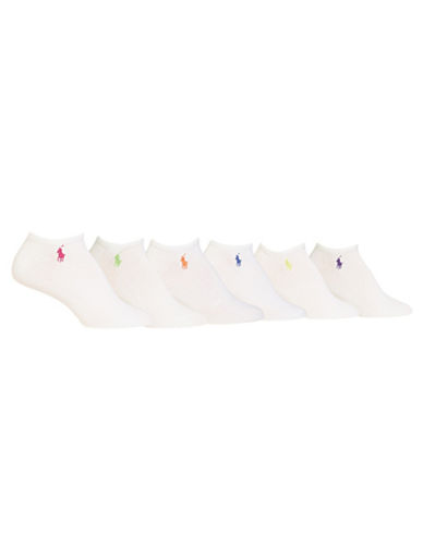Ralph Lauren Six-Pair Ultra Low-Cut Sport Socks-WHITE ASSORTED-One Size