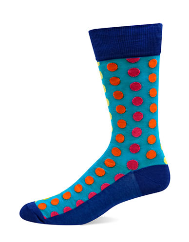 Hot Sox Mens Ombre Dots Socks-BLUE-10