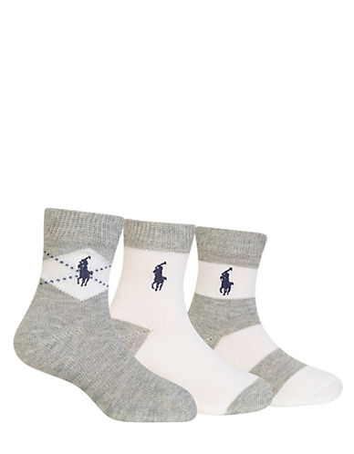 Ralph Lauren Childrenswear Three-Pack Argyle Crew Socks Set-GREY-6-12 Months
