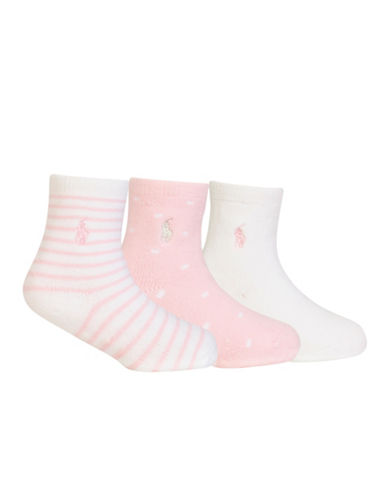 Ralph Lauren Childrenswear Three-Pack Polo Classic Crew Socks-WHITE/PINK-12-18 Months