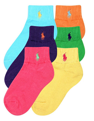 Ralph Lauren Childrenswear Six-Pack Quarter Sport Socks-ASSORTED-8-9.5