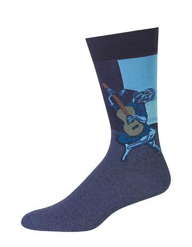 Hot Sox Guitarist Print Crew Socks-BLUE-10-12