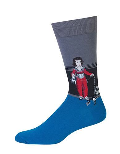 Hot Sox Novelty Boy Crew Socks-GREY-10