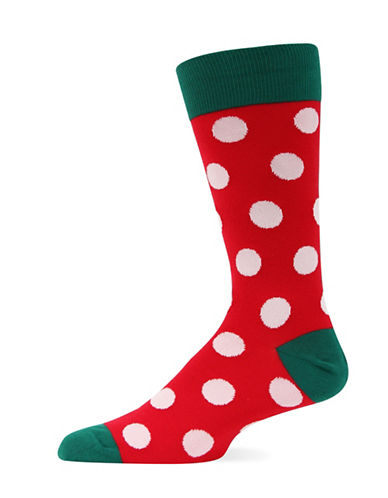 Hot Sox Holiday Dot Crew Socks-RED-10-12