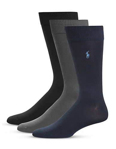 Polo Ralph Lauren Three-Pack Supersoft Flat Knit Socks Set-MULTI-COLOURED-10