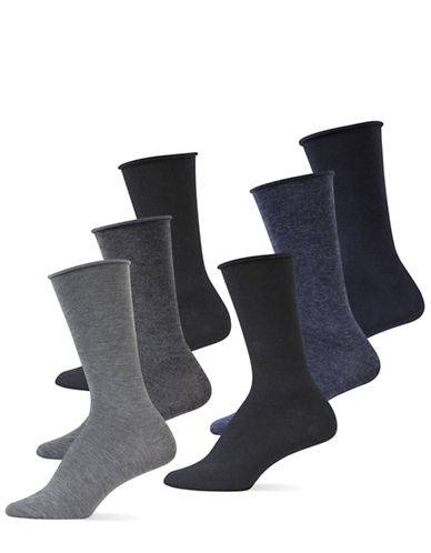 Lauren Ralph Lauren Six-Pack Roll Top Trouser Socks-GREY-One Size