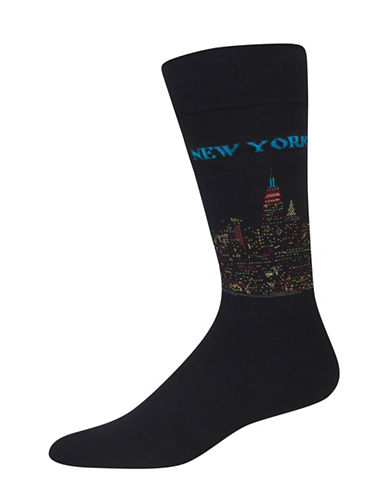 Hot Sox Famous Artist New York Crew Socks-BLACK-10-12