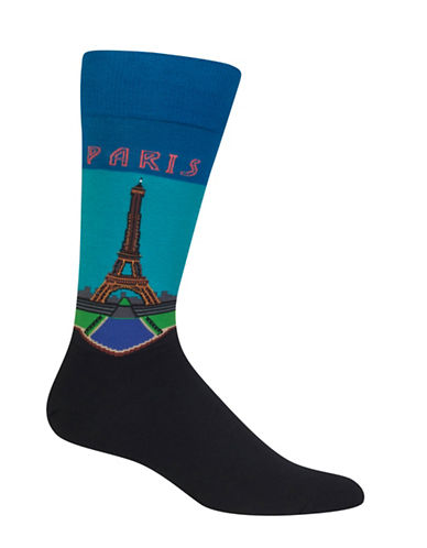 Hot Sox Paris Crew Socks-TEAL-10-12
