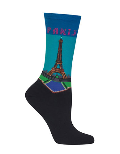 Hot Sox Paris Crew Socks-BLUE-One Size