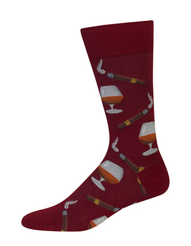 Hot Sox Cognac and Cigars Crew Socks-WINE-10-12
