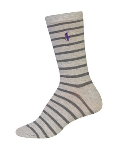 Lauren Ralph Lauren Stripe Crew Socks-GREY-One Size