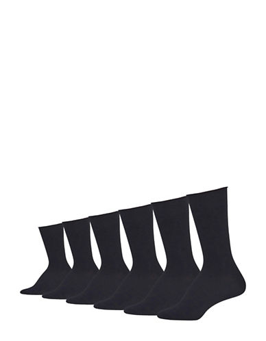 Lauren Ralph Lauren Six-Pack Roll Top Trouser Socks-BLACK-One Size