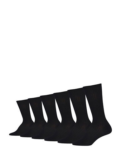 Lauren Ralph Lauren Six-Pack Rib Trouser Socks-BLACK-One Size
