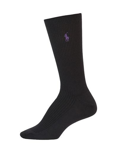 Lauren Ralph Lauren Microfiber Ribbed Socks-BLACK-One Size
