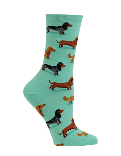 Hot Sox Dachshunds Crew Socks-BLUE-One Size 88971657_BLUE_One Size