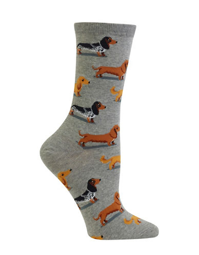 Hot Sox Dachshunds Crew Socks-GREY-One Size 88971652_GREY_One Size